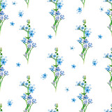 Floral seamless pattern with little flowers of  blue oxypetalum. Art by markers. Imitation of watercolor drawing. - 209842091