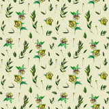 Floral seamless pattern with green Helleborus and twigs. Art by markers. Imitation of watercolor drawing. - 209842252
