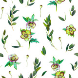 Floral seamless pattern with green Helleborus and twigs. Art by markers. Imitation of watercolor drawing. - 209842285