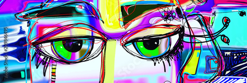 digital abstract art poster with doodle human eyes