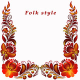 a frame with a flower ornament in a folk style - 209846877