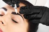 Young woman undergoing procedure of eyebrow permanent makeup in beauty salon, closeup - 209848662
