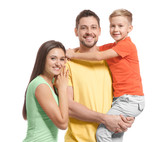 Portrait of happy family on white background - 209849009