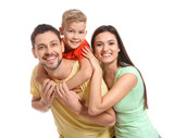 Portrait of happy family on white background - 209849013