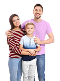 Portrait of happy family on white background - 209849020