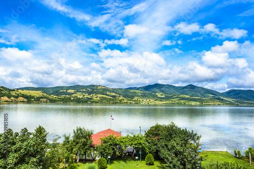 Foto Murales Beatiful landscape from backyard on Danube river
