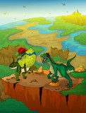 Dilophosaurus and raptor with landscape background. Vector illustration. © Максим Ковальчук