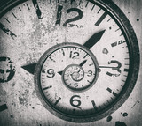 Abstract spiral clock background. Twisted time. - 209854214