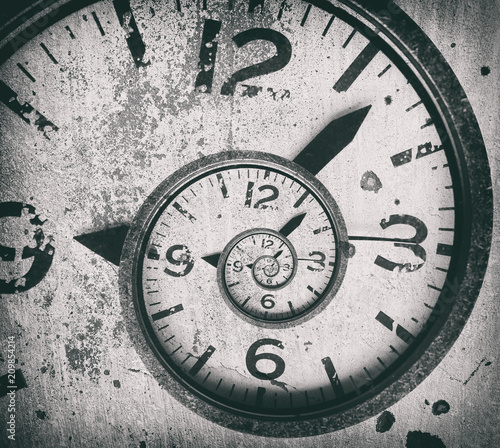 Foto Murales Abstract spiral clock background. Twisted time.