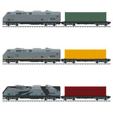 Three Types of Freight Train, Locomotive with Cargo Container on Railroad Platform , Railway and Container Transport, Vector Illustration