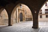 Square of la Iglesia and church, La Iglesuela del Cid, Mestrazgo, Teruel province, Aragon, Spain - 209857869
