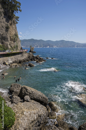 Aluminium Groen blauw landscapes on the sea along the coast of Portofino in Genoa in Italy