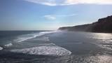 Aerial shot of coast line with huge waves. - 209861425