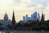 2018.06.17, Moscow, Russia. Panoramic cityscape of Moscow. Silhouettes of Moscow buildings on evening sky background.  - 209865015