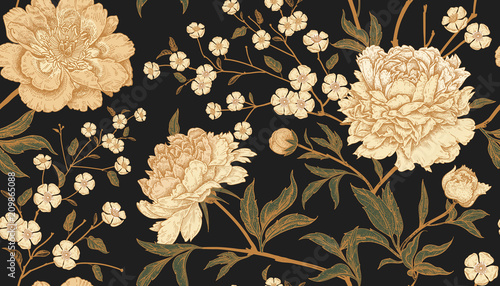Seamless pattern with exotic bird pheasants and peony flowers. - 209865088