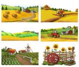 Farm, rural landscape, vector set - 209865608