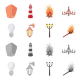 LED light, street lamp, match.Light source set collection icons in cartoon,monochrome style vector symbol stock illustration web. - 209868201