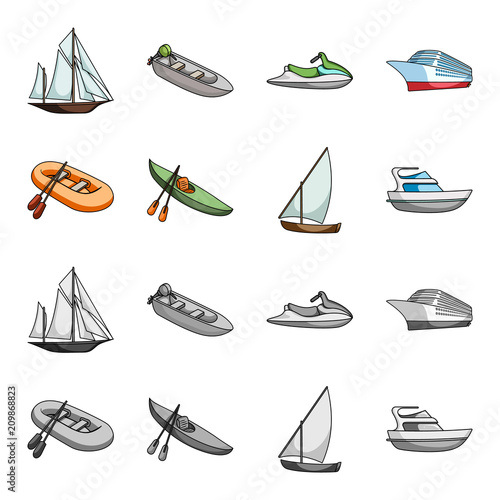 A rubber fishing boat, a kayak with oars, a fishing schooner, a motor yacht.Ships and water transport set collection icons in cartoon,monochrome style vector symbol stock illustration web.