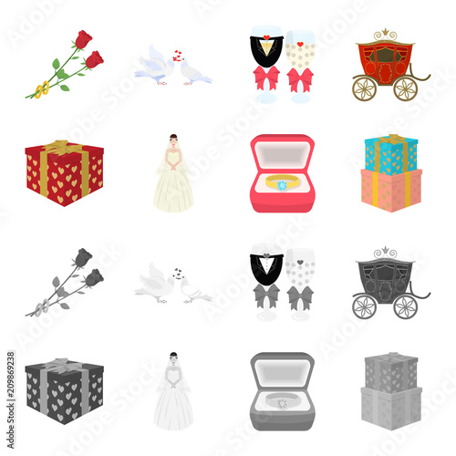 Wedding and Attributes cartoon,monochrome icons in set collection for design.Newlyweds and Accessories vector symbol stock web illustration.