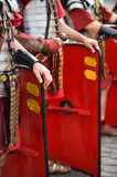 Reenactment detail with roman soldiers uniforms - 209869417