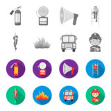 Fireman, flame, fire truck. Fire departmentset set collection icons in monochrome,flat style vector symbol stock illustration web. - 209870063