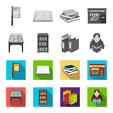 Library and bookstore monochrome,flat icons in set collection for design. Books and furnishings vector symbol stock web illustration. - 209870497