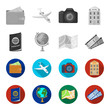 Vacation, travel, passport, globe .Rest and travel set collection icons in monochrome,flat style vector symbol stock illustration web.