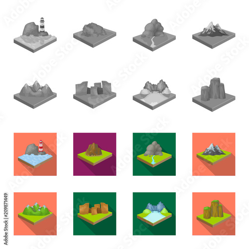 Mountains, rocks and landscape. Relief and mountains set collection icons in monochrome,flat style isometric vector symbol stock illustration web.