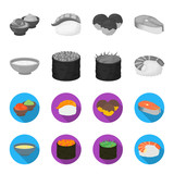 Bowl of soup, caviar, shrimp with rice. Sushi set collection icons in monochrome,flat style vector symbol stock illustration web. - 209871668
