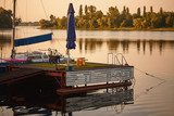 GOMEL, BELARUS. yachts on the dock at dawn. - 209872234