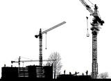 workers building house under hight cranes - 209877212