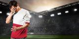 Poland national team. Sad soccer or football player on stadium - 209882006