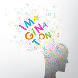 Letters exploding out of head silhouette spelling IMAGINATION - 209884227