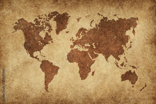Fototapeta World Map Paper Vintage
