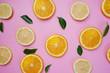 Orange Lemon Leaves Citrus Pattern on Pink Background Minimal Flat Lay - 209887819