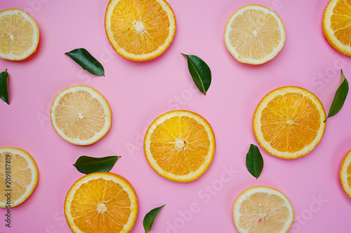 Orange Lemon Leaves Citrus Pattern on Pink Background Minimal Flat Lay - 209887819