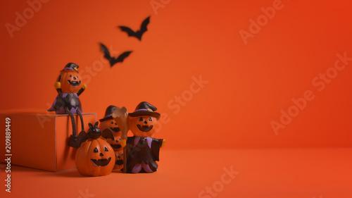Halloween pumpkins jack-o-lantern on orange background. Halloween pumpkin background. Halloween. jack-o-lantern. Halloween jack-o-lantern. Happy Halloween. - 209889449