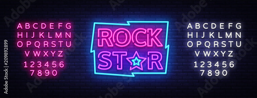 Aluminium Vintage Poster Rock Star Neon Sign Vector Illustration. Design template neon signboard on Rock Music, Light banner, Bright Night Advertising. Vector. Editing text neon sign