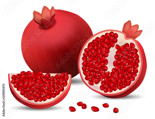 Pomegranate juice seeds garnet icons set. Realidtic illustration of 4 pomegranate juice seeds garnet vector icons for web