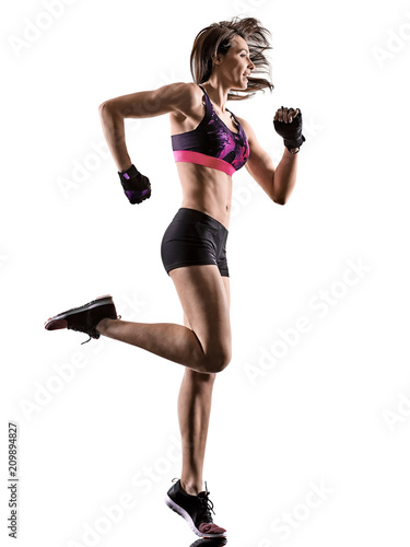 one caucasian woman exercising cardio boxing cross core workout fitness exercise aerobics silhouette isolated on white background - 209894827