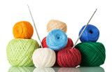 Cotton yarn balls of different shades and crochet hooks, isolated on white - 209895088