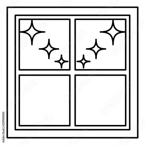 Window overlooking the night stars icon black color illustration flat style simple image - 209900000