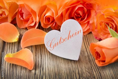 Leinwanddruck Bild Dekoration  -   Herz und Rosen   -   Gutschein