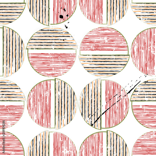 Aluminium Abstract met Penseelstreken seamless geometric background pattern, with circles/semicircles, paint strokes and splashes