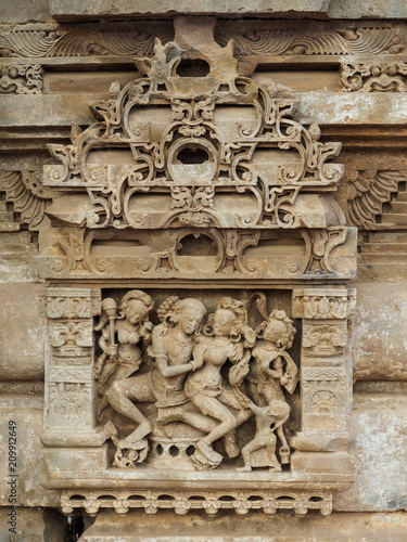Foto Murales Close up of the 8th-9th century carved stone in Harshshat Mata temple, Abhaneri village, Rajasthan State, India..