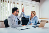 Successful business colleagues giving high five in office. - 209913669