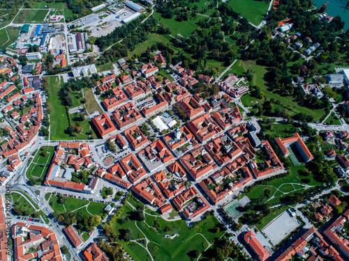 Leinwanddruck Bild Karlovac the City Star shot with aerial drone, town on 4 rivers, Mreznica, Kupa,  Dobra, Korana, The Renaissance star-shaped city at a border and a crossroads, Croatia