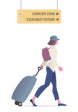 Traveling woman walking with cap and backpack pulling a trolley. Airport signs with motivational message. Isolated on white background. - 209920859
