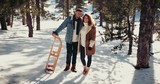 Happy young couple with sledge standing in snowy forest park - 209921676