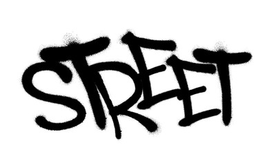 Sprayed street font graffiti with overspray in black over white. Vector illustration.